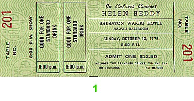 Helen Reddy 1970s Ticket from Sheraton Waikiki Hotel on 12 Oct 75: Ticket One