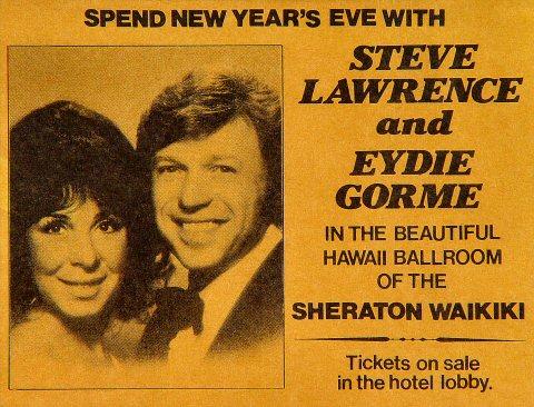 """Steve Lawrence Handbill from Sheraton Waikiki Hotel on 31 Dec 76: 4 1/4"""" x 5 1/2"""""""