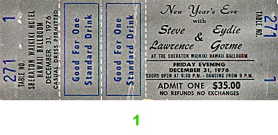 Steve Lawrence 1970s Ticket from Sheraton Waikiki Hotel on 31 Dec 76: Ticket One