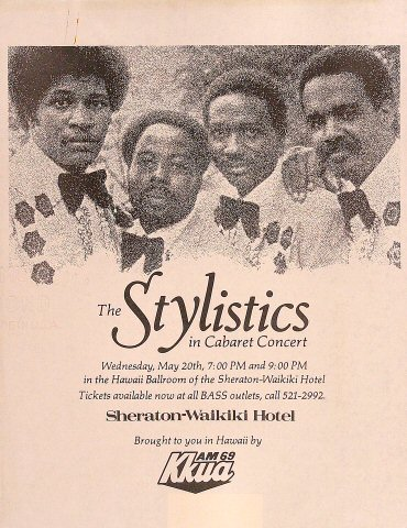 "The Stylistics Handbill from Sheraton Waikiki Hotel on 20 May 81: 8 1/2"" x 11"""