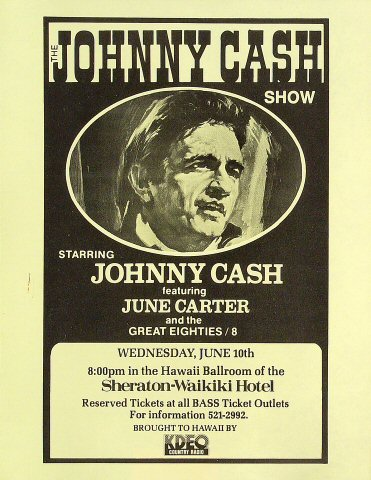 "Johnny Cash Handbill from Sheraton Waikiki Hotel on 10 Jun 81: 8 1/2"" x 11"""