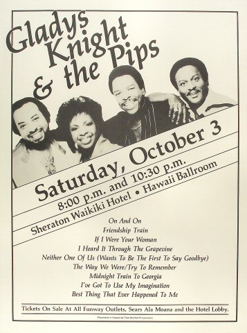 "Gladys Knight and the Pips Poster from Sheraton Waikiki Hotel on 03 Oct 81: 18"" x 24"""