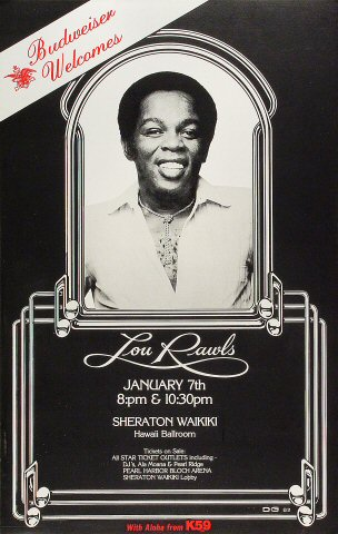 "Lou Rawls Poster from Sheraton Waikiki Hotel on 07 Jan 82: 14"" x 22"""