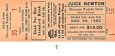 Juice Newton 1980s Ticket from Sheraton Waikiki Hotel on 26 Nov 82: Ticket One