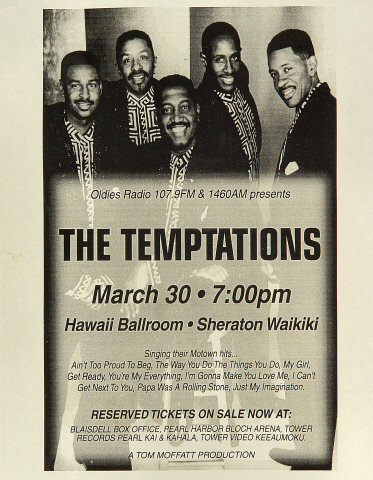 "The Temptations Handbill from Sheraton Waikiki Hotel on 30 Mar 84: 8 1/2"" x 11"""
