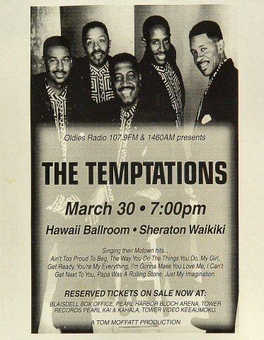 "The Temptations Handbill from Sheraton Waikiki Hotel on 30 Mar 84: 8 1/2"" x 11"""