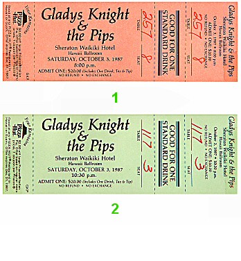 Gladys Knight and the Pips 1980s Ticket from Sheraton Waikiki Hotel on 03 Oct 87: Ticket Two