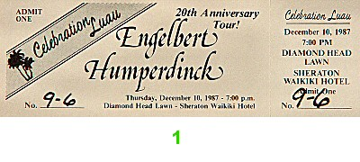 Engelbert Humperdinck 1980s Ticket from Sheraton Waikiki Hotel on 10 Dec 87: Ticket One