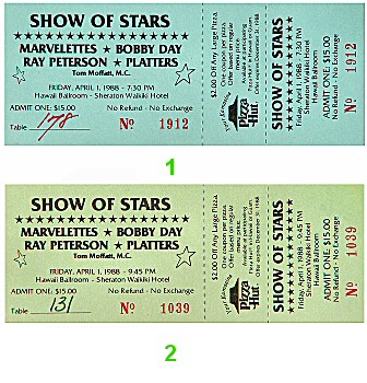 The Platters 1980s Ticket from Sheraton Waikiki Hotel on 01 Apr 88: Ticket Two