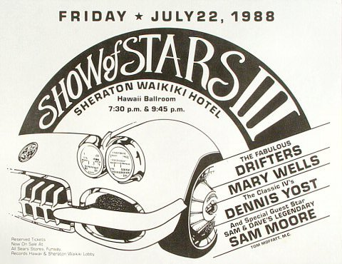 """Drifters (Hawaii) Handbill from Sheraton Waikiki Hotel on 22 Jul 88: 8 1/2"""" x 11"""""""