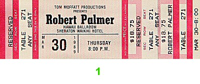Robert Palmer 1980s Ticket from Sheraton Waikiki Hotel on 30 Mar 89: Ticket One