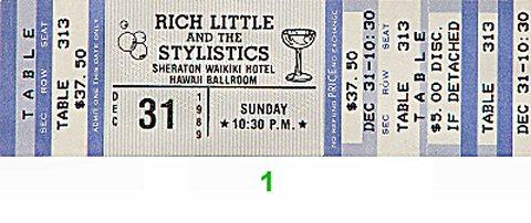 Rich Little 1980s Ticket from Sheraton Waikiki Hotel on 31 Dec 89: Ticket One
