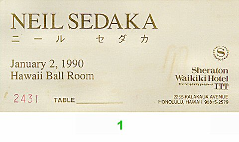 Neil Sedaka 1990s Ticket from Sheraton Waikiki Hotel on 02 Jan 90: Ticket One