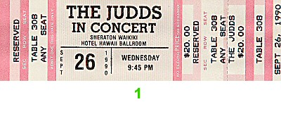 The Judds 1990s Ticket from Sheraton Waikiki Hotel on 26 Sep 90: Ticket One