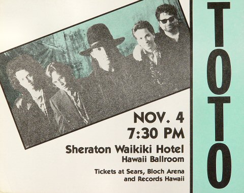 "Toto Handbill from Sheraton Waikiki Hotel on 04 Nov 90: 8 3/4"" x 11"""