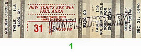 Paul Anka 1990s Ticket from Sheraton Waikiki Hotel on 31 Dec 90: Ticket One