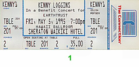 Kenny Loggins 1990s Ticket from Sheraton Waikiki Hotel on 05 May 95: Ticket One