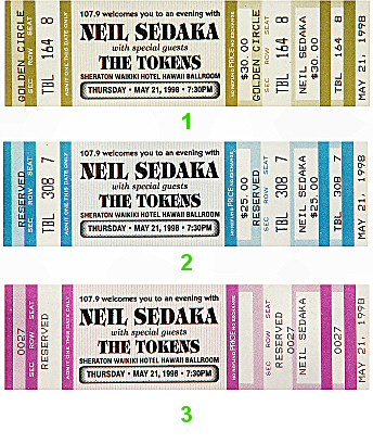 Neil Sedaka 1990s Ticket from Sheraton Waikiki Hotel on 21 May 98: Ticket Two