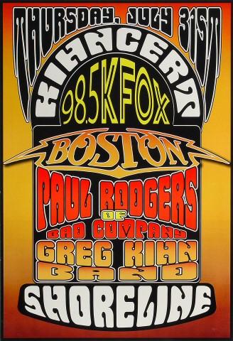 "Boston Poster from Shoreline Amphitheatre on 31 Jul 03: 13"" x 19"""