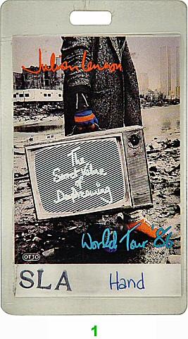 Julian Lennon Laminate from Shoreline Amphitheatre on 26 Jul 86: Laminate 1