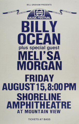"Billy Ocean Poster from Shoreline Amphitheatre on 15 Aug 86: 14"" x 22"""
