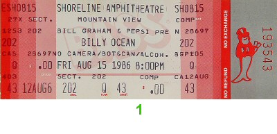 Billy Ocean 1980s Ticket from Shoreline Amphitheatre on 15 Aug 86: Ticket One