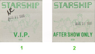 Starship Backstage Pass from Shoreline Amphitheatre on 31 Aug 86: Pass 2