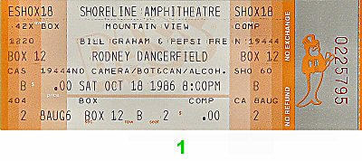 Rodney Dangerfield 1980s Ticket from Shoreline Amphitheatre on 18 Oct 86: Ticket One