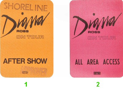 Diana Ross Backstage Pass from Shoreline Amphitheatre on 02 May 87: Pass 1