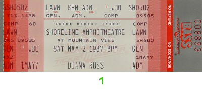 Diana Ross 1980s Ticket from Shoreline Amphitheatre on 02 May 87: Ticket One
