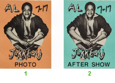 Al Jarreau Backstage Pass from Shoreline Amphitheatre on 17 Jul 87: Pass 1