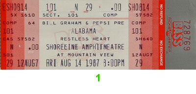 Alabama 1980s Ticket from Shoreline Amphitheatre on 14 Aug 87: Ticket One