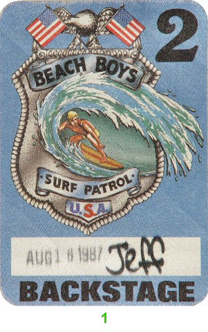 The Beach Boys Backstage Pass from Shoreline Amphitheatre on 16 Aug 87: Pass 1