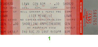 Liza Minnelli 1980s Ticket from Shoreline Amphitheatre on 20 Aug 87: Ticket One