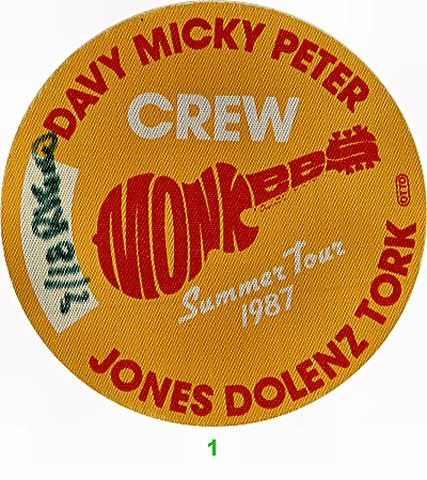 The Monkees Backstage Pass from Shoreline Amphitheatre on 18 Sep 87: Pass 1