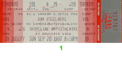 Dan Fogelberg 1980s Ticket from Shoreline Amphitheatre on 20 Sep 87: Ticket One