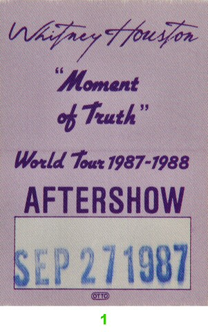 Whitney Houston Backstage Pass from Shoreline Amphitheatre on 27 Sep 87: Pass 1