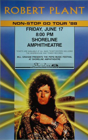 "Robert Plant Poster from Shoreline Amphitheatre on 17 Jun 88: 13 3/4"" x 21 3/4"""