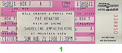 Pat Benatar 1980s Ticket from Shoreline Amphitheatre on 21 Aug 88: Ticket One