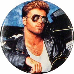 "George Michael Vintage Pin from Shoreline Amphitheatre on 27 Sep 88: 1 1/2"" x 1 1/2"" Pin"