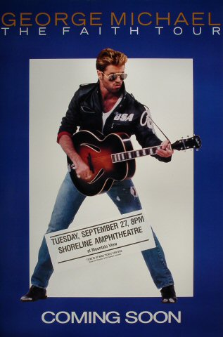 "George Michael Poster from Shoreline Amphitheatre on 27 Sep 88: 24"" x 36"""