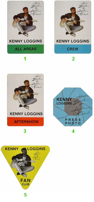 Kenny Loggins Backstage Pass from Shoreline Amphitheatre on 07 Oct 88: Pass 1