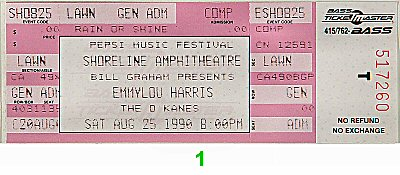 Emmylou Harris 1990s Ticket from Shoreline Amphitheatre on 25 Aug 90: Ticket One