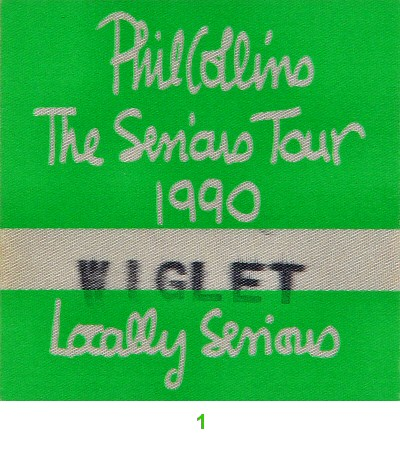 Phil Collins Backstage Pass from Shoreline Amphitheatre on 17 Sep 90: Pass 1