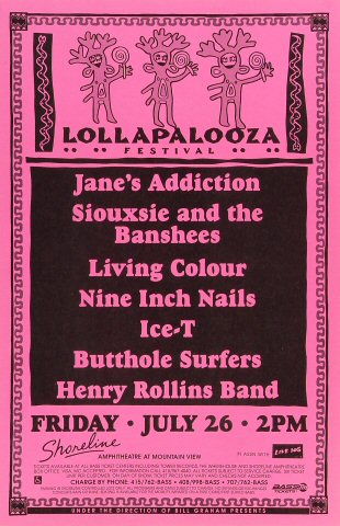 "Jane's Addiction Poster from Shoreline Amphitheatre on 26 Jul 91: 11"" x 17"""