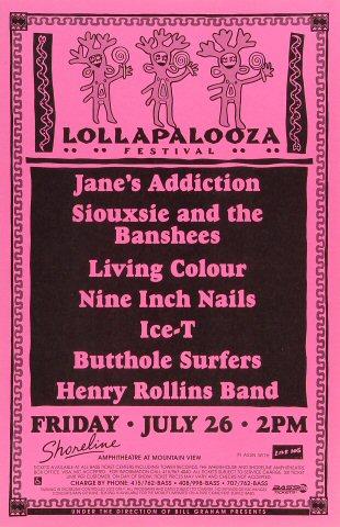"Jane's Addiction Poster from Shoreline Amphitheatre on 26 Jul 91: 11"" x 17"""