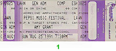 Amy Grant 1990s Ticket from Shoreline Amphitheatre on 25 Aug 91: Ticket One