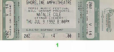 Natalie Cole 1990s Ticket from Shoreline Amphitheatre on 09 Jul 92: Ticket One