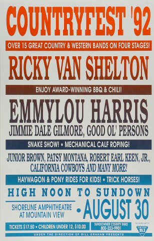 "Ricky Van Shelton Poster from Shoreline Amphitheatre on 30 Aug 92: 11"" x 17"""