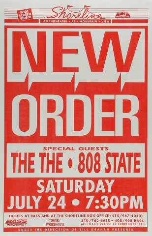 "New Order Poster from Shoreline Amphitheatre on 24 Jul 93: 11"" x 17"""